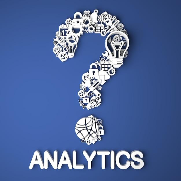 Analytics-kaart handgemaakt van papieren tekens op blauwe achtergrond Premium Foto