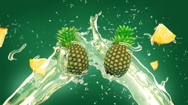 Ananas sap splash achtergrond Gratis Foto