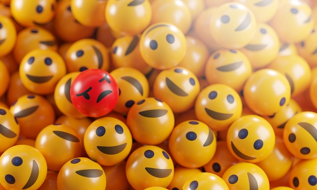 Angry emoji between a bunch of smile emoticons Premium Foto