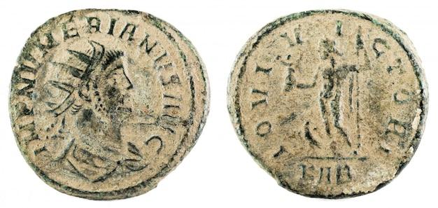 Antoninianus. oude romeinse koperen munt van numerian keizer. Premium Foto