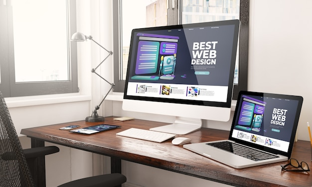 Apparaten met responsive webdesign desktop 3d-rendering Premium Foto