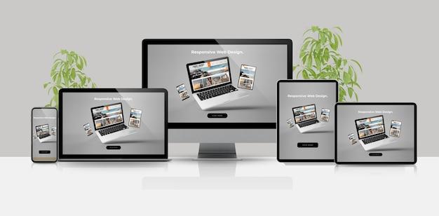 Apparaten mock-up responsieve website 3d-rendering Premium Foto
