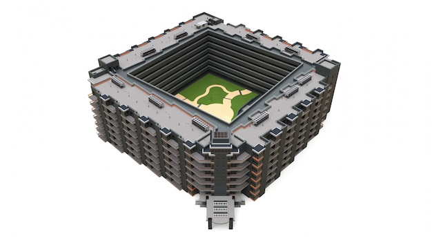 Appartement 3d-model. appartementenhuis met een binnenplaats. 3d-weergave Premium Foto