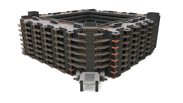 Appartement 3d-model. appartementenhuis met een binnenplaats Premium Foto