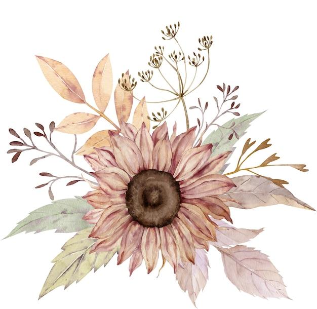 Aquarel bloemenboeket. Premium Foto