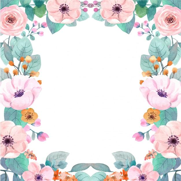 Aquarel bloemenlijst Premium Foto