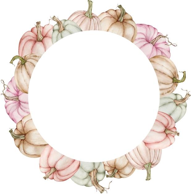 Aquarel cirkelframe met kleurrijke pastel pompoenen. Premium Foto