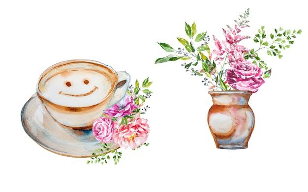Aquarel handgeschilderde lente bloemboeket in een vaas en een kopje koffie met bloemdecoraties clipart set. Premium Foto