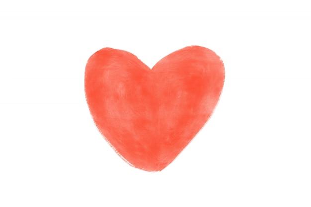 Aquarel hart geïsoleerd Gratis Foto