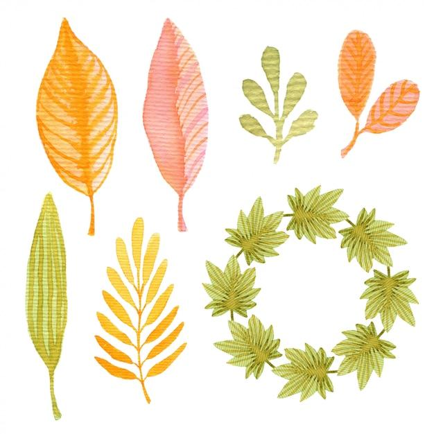 Aquarel herfst set met bladeren en frame. decoratie voor pakketontwerp of uitnodigingskaart Premium Foto
