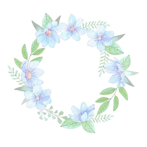 Aquarel illustratie. bloemenkrans met bladeren en blauwe bloemen. Premium Foto