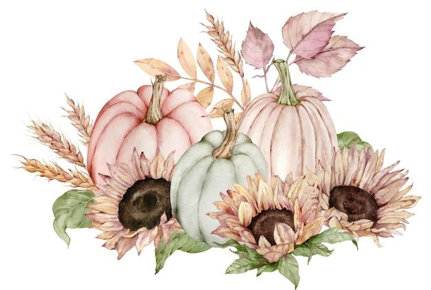 Aquarel illustratie van pompoenen versierd met zonnebloemen, herfstbladeren en oren van tarwe Premium Foto