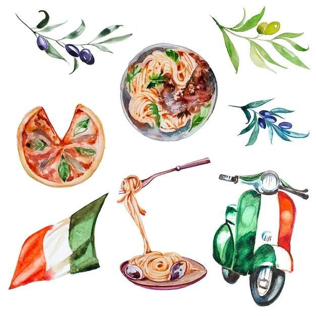 Aquarel italiaanse pizza, spaghetti, pasta, olijven, scooter clipart set. italië concept illustratie. Premium Foto