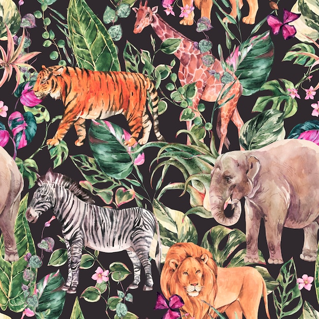 Aquarel jungle naadloze patroon, safari dieren bloemen zomer textuur. tropische aquarel giraf, olifant. Premium Foto