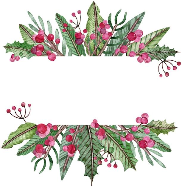 Aquarel kerst frame - fir tree, maretak en bessen. rechthoekig groen winterframe. Premium Foto