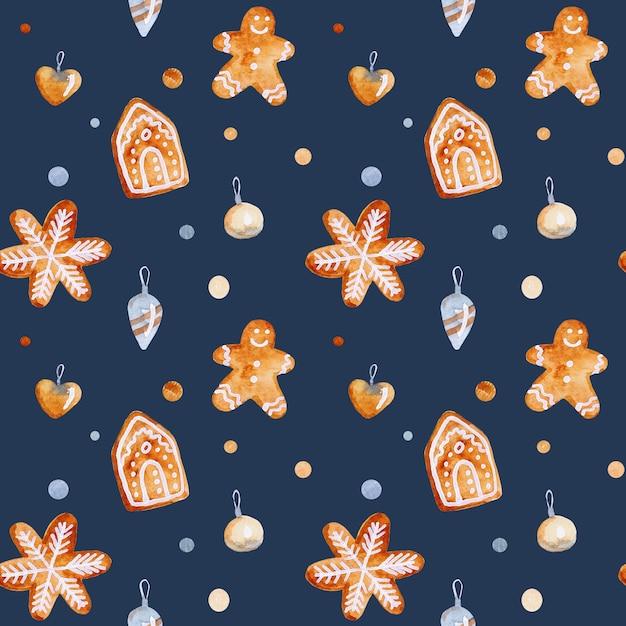 Aquarel kerst naadloze patroon met speelgoed sterren en sneeuwvlokken Premium Foto