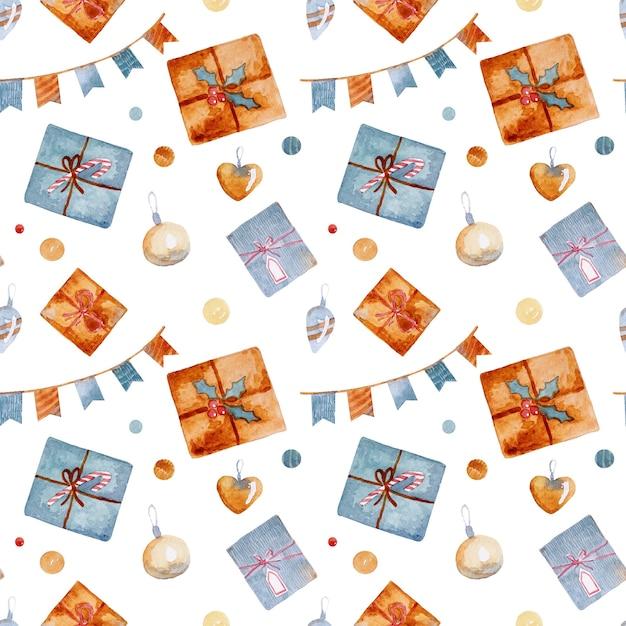 Aquarel kerst naadloze patroon met speelgoed vooravond presenteert peperkoek sterren en sneeuwvlokken Premium Foto