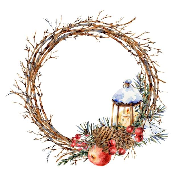 Aquarel kerst natuurlijke krans van dennentakken, rode appel, bessen, dennenappels, lantaarn, botanische ronde frame vintajge voor wenskaart geïsoleerd Premium Foto