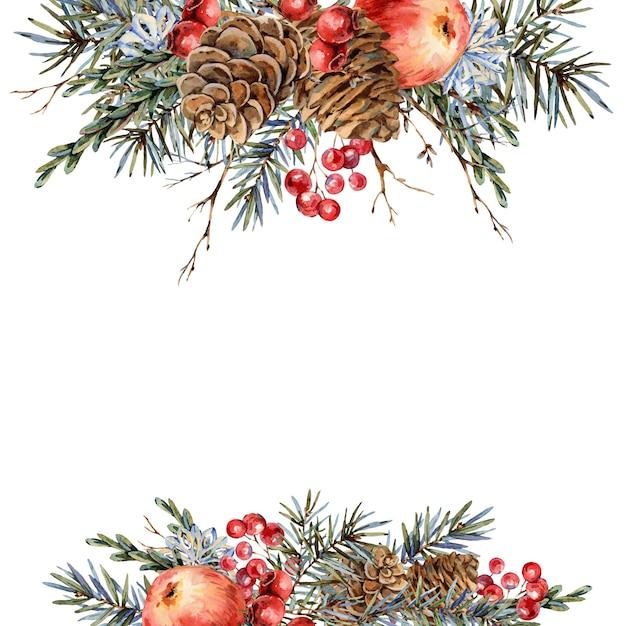 Aquarel kerst natuurlijke sjabloon van dennentakken, rode appel, bessen, dennenappels, vintage botanische wenskaart Premium Foto