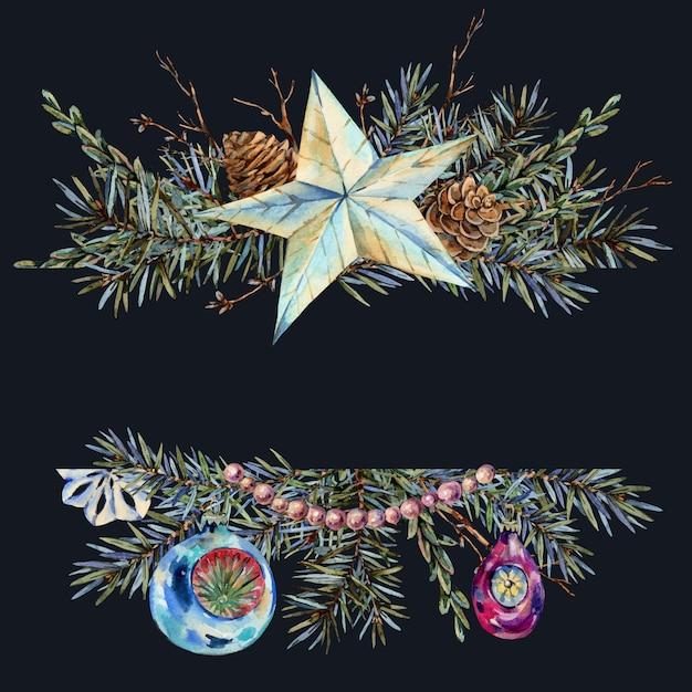 Aquarel kerst natuurlijke sjabloon van dennentakken, ster, parel kralen, dennenappels, vintage botanische wenskaart Premium Foto
