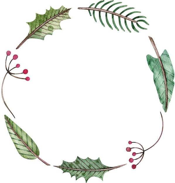 Aquarel kerstmis en nieuwjaar eenvoudige ronde krans - dennenboom, maretak en bessen. groene winter frame. Premium Foto