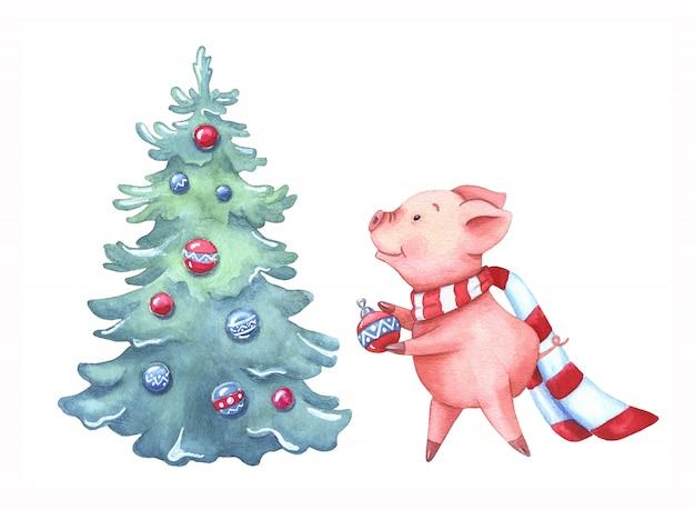 Aquarel kleine piggy siert een kerstboom. Premium Foto