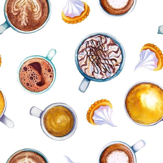 Aquarel koffie macchiato cup biscuit naadloze patroon. Premium Foto