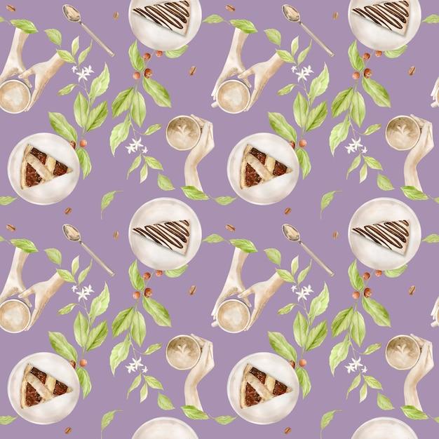 Aquarel naadloze patroon met illustraties van koffiekopje, koffiebonen, koffiemolen, cappuccino, latte en desserts Premium Foto