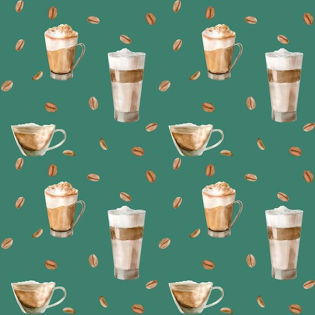 Aquarel naadloze patroon met illustraties van koffiekopje, koffiebonen, koffiemolen, cappuccino, latte Premium Foto
