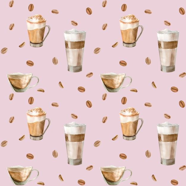 Aquarel naadloze patroon met illustraties van koffiekopje Premium Foto