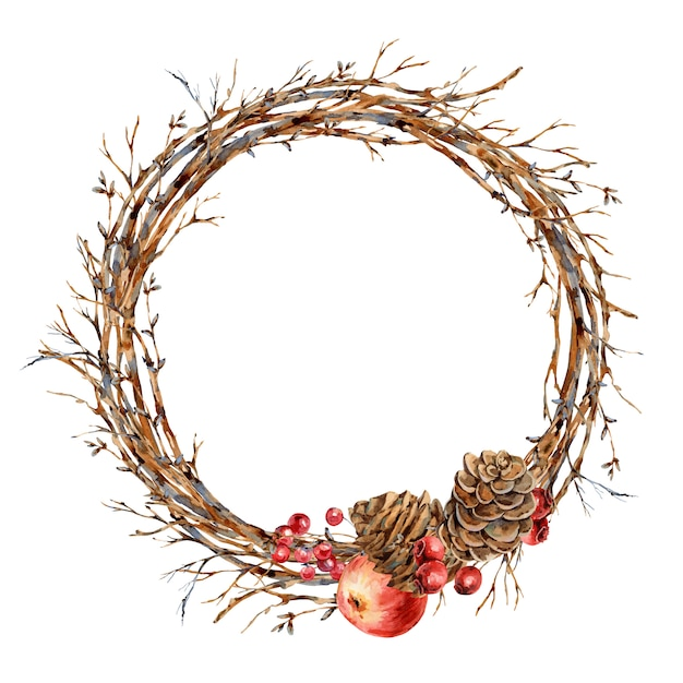 Aquarel natuurlijke kerstkrans van boomtakken, rode appel, bessen, dennenappels, botanische ronde frame van vintajge voor wenskaart Premium Foto
