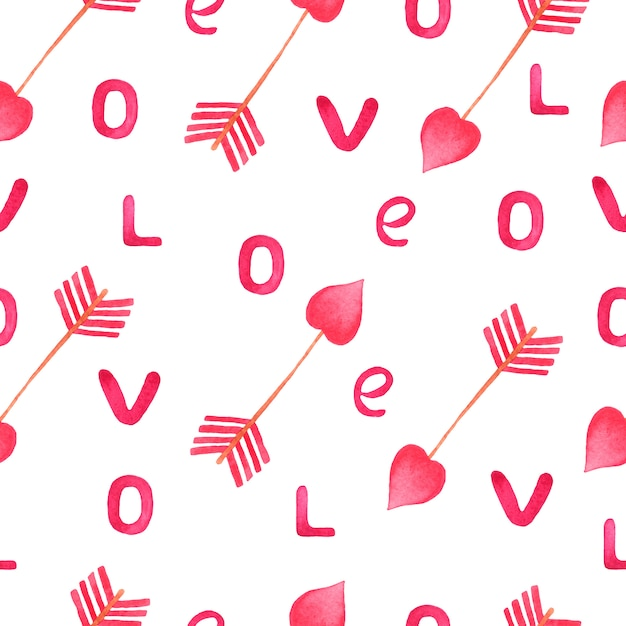 Aquarel roze pijl en liefdesbrieven patroon. Premium Foto