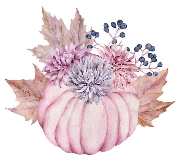 Aquarel roze pompoen versierd met herfstbloemen, herfst esdoorn bladeren, bessen. mooie bloemenpompoenregeling. Premium Foto