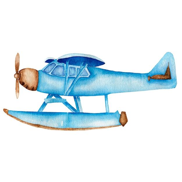 Aquarel vintage blauw vliegtuig Premium Foto