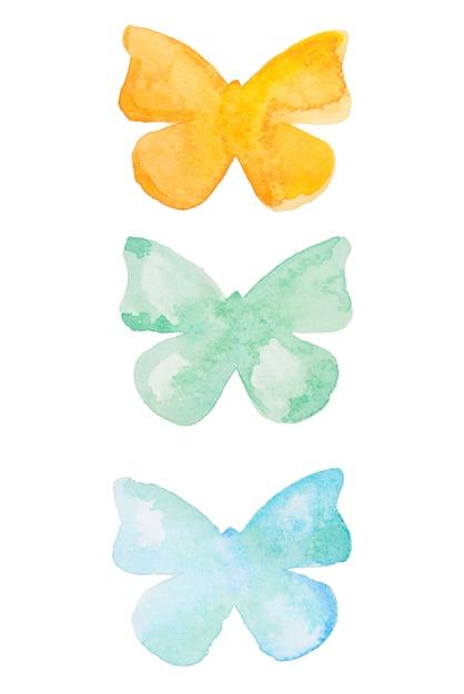 Aquarel vlinder. hand getekend mooie vlinders set geïsoleerd. Premium Foto