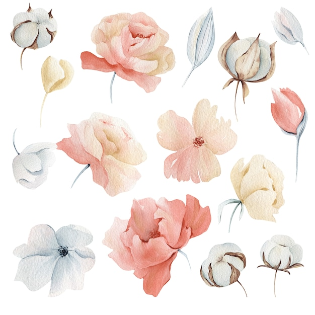 Aquarel winter roze bloemen Premium Foto