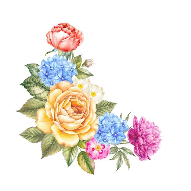 Aquarelle bloemen op geïsoleerde aquarel Premium Foto