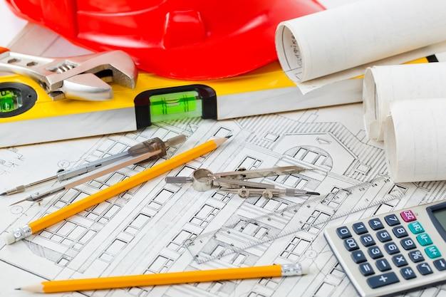 Architectonische plannen Premium Foto
