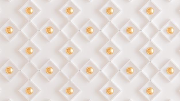 Architectuur, interieur patroon, wit, geel, goud textuur muur. 3d-weergave. Premium Foto