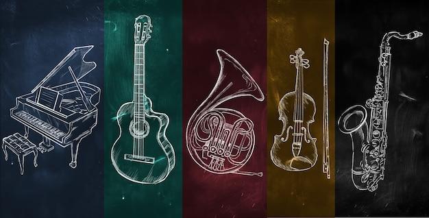 Art instruments muziek op kleurrijk schoolbord Premium Foto