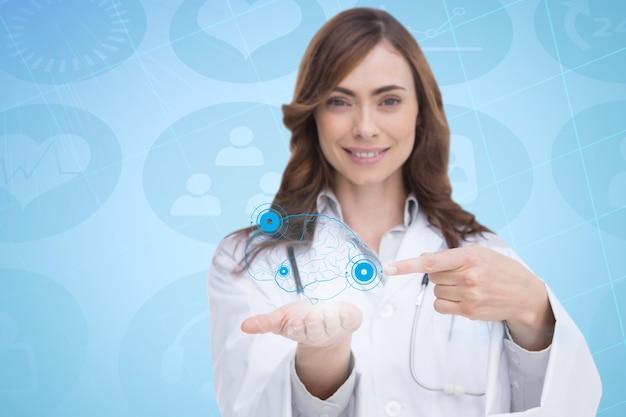 Arts die een virtuele hersenen in haar hand Gratis Foto