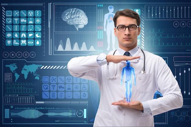 Arts op futuristische medische achtergrond Premium Foto