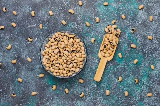 Assortiment peulvruchten en bonen in verschillende kommen op lichte stenen ondergrond. bovenaanzicht gezond veganistisch eiwitvoer. Gratis Foto