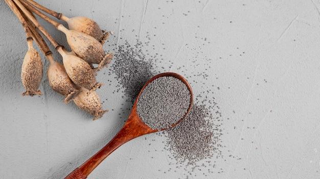 Assortiment plat leggen met lepel vol zaden Gratis Foto