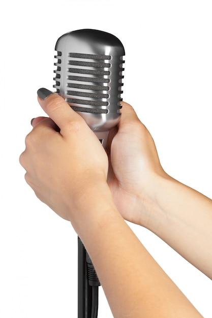 Audio microfoon retro stijl Premium Foto