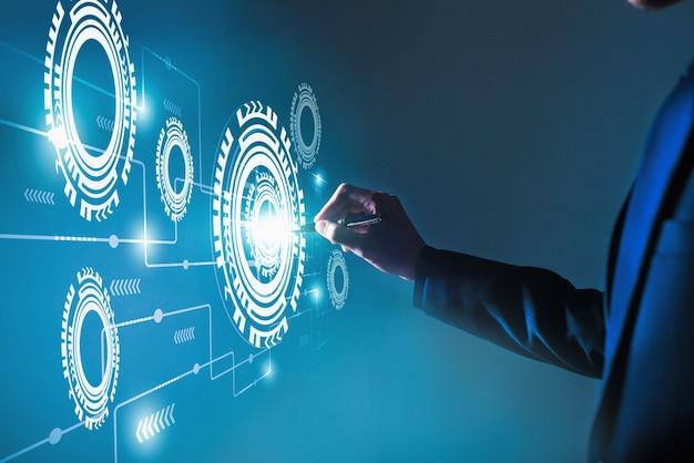 Automatisering software processysteem bedrijfsconcept, innovatief bedrijfsconcept en technologie Premium Foto