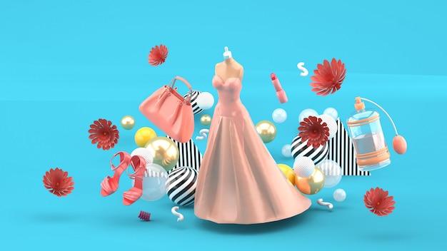 Avondjurken, tassen, schoenen en cosmetica drijvend tussen de bloemen op blauw. 3d-weergave. Premium Foto