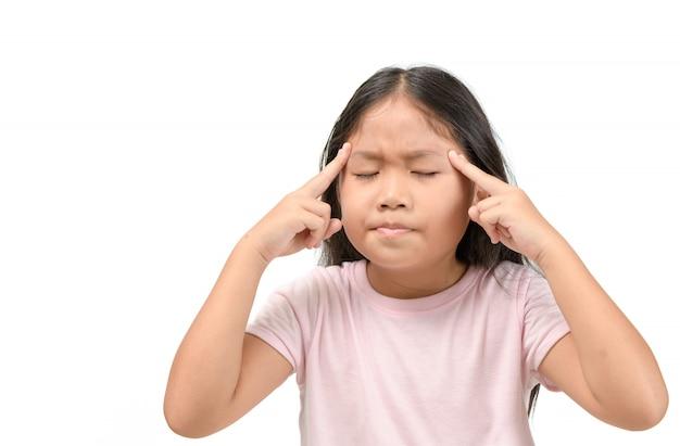 Aziatisch meisje dat aan hoofdpijn lijdt Premium Foto