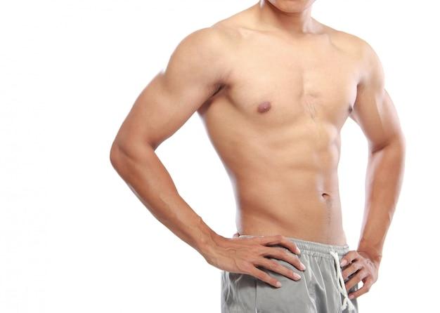 Aziatische bodybuilders lichaam geïsoleerd Premium Foto