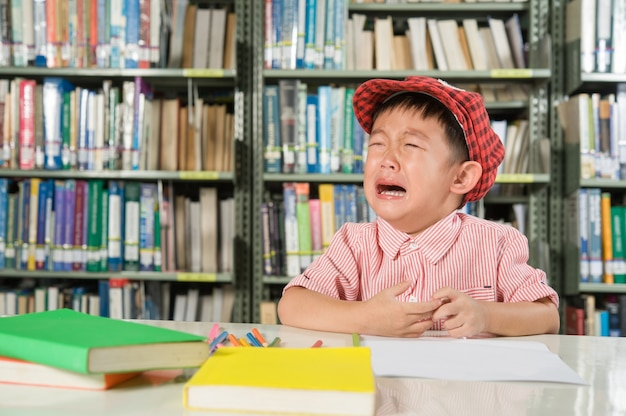 De Bibliotheek Kamer : Aziatische jongen in de bibliotheek kamer school foto gratis